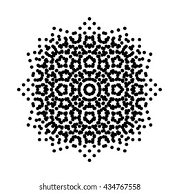 Halftone moire. Offset RIP separation. Printing black rosettes pattern. Vector illustration on white background.