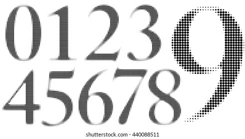 Halftone Numbers with circle dots in a blurred style.