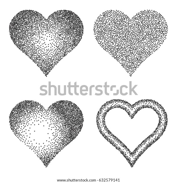 Halftone Pattern Texture Collection Set Stipple Stock Vector