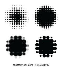 Halftone patterns set. Halftone dots circle gradient. Circular halftone design elements