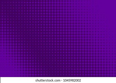 Halftone purple banner. Abstract comic, cartoon background with dots, circle, sale flyer, retro card, tech background, techno template. Vector illustration