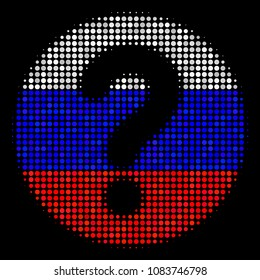 Halftone Query pictogram colored in Russian state flag colors on a dark background. Vector concept of query icon combined from circle pixels. Designed for political and Russian patriotic agitprop.