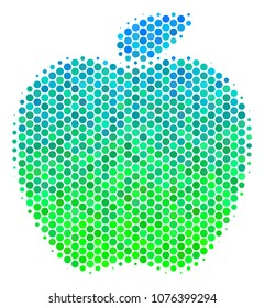 Halftone round spot Apple icon. Pictogram in green and blue color hues on a white background. Vector mosaic of apple icon combined of round dots.