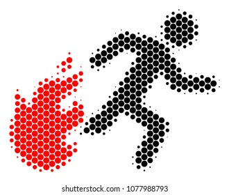 Halftone round spot Fired Running Man icon. Pictogram on a white background. Vector collage of fired running man icon designed of sphere pixels.