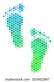 Halftone round spot Human Steps icon. Pictogram in green and blue shades on a white background. Vector concept of human steps icon composed of sphere items.
