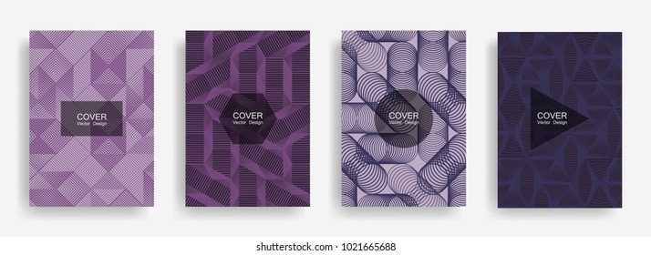 Halftone shapes minimal geometric cover templates set graphic design. Halftone lines grid vector background of triangle, hexagon, rhombus, circle shapes. Future geometric cover rectangle backgrounds.