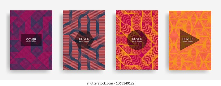 Halftone shapes minimal geometric cover templates set graphic design. Halftone lines grid vector background of triangle, hexagon, rhombus, circle shapes. Future geometric cover bright backgrounds