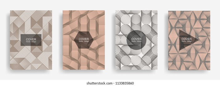 Halftone shapes minimal geometric cover templates set graphic design. Halftone lines grid vector background of triangle, hexagon, rhombus, circle shapes. Geometric cover stylish backgrounds