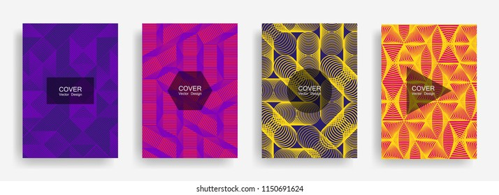 Halftone shapes minimal geometric cover templates set graphic design. Halftone lines grid vector background of triangle, hexagon, rhombus, circle shapes. Future geometric cover flat backgrounds.