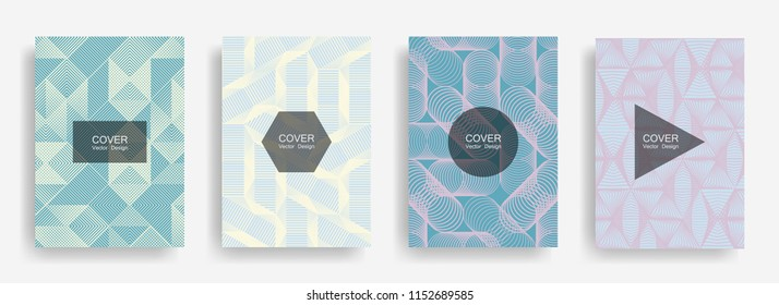 Halftone shapes minimal geometric cover templates set graphic design. Halftone lines grid vector background of triangle, hexagon, rhombus, circle shapes. Future geometric cover template backgrounds.