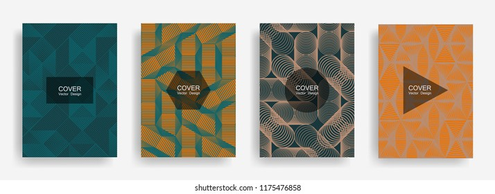 Halftone shapes minimal geometric cover templates set graphic design. Halftone lines grid vector background of triangle, hexagon, rhombus, circle shapes. Geometric cover educational backgrounds