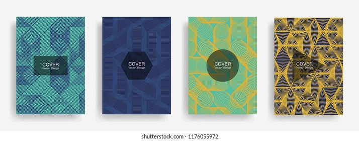 Halftone shapes minimal geometric cover templates set graphic design. Halftone lines grid vector background of triangle, hexagon, rhombus, circle shapes. Future geometric cover poster backgrounds.
