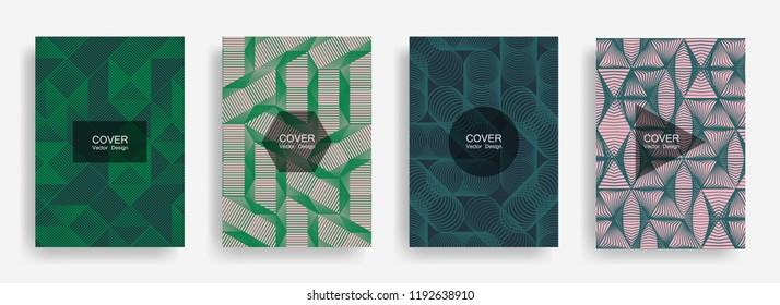 Halftone shapes minimal geometric cover templates set graphic design. Halftone lines grid vector background of triangle, hexagon, rhombus, circle shapes. Future geometric cover card backgrounds