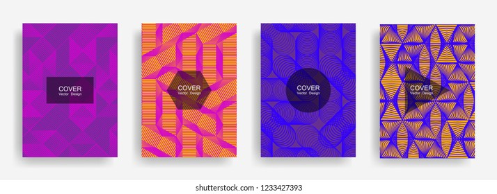 Halftone shapes minimal geometric cover templates set graphic design. Halftone lines grid vector background of triangle, hexagon, rhombus, circle shapes. Future geometric cover digital backgrounds.