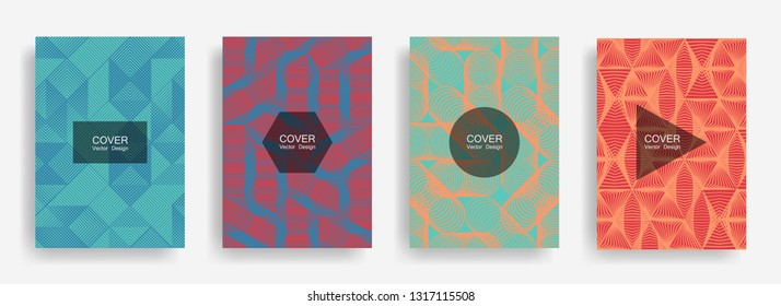 Halftone shapes minimal geometric cover templates set graphic design. Halftone lines grid vector background of triangle, hexagon, rhombus, circle shapes. Future geometric cover graphic backgrounds.