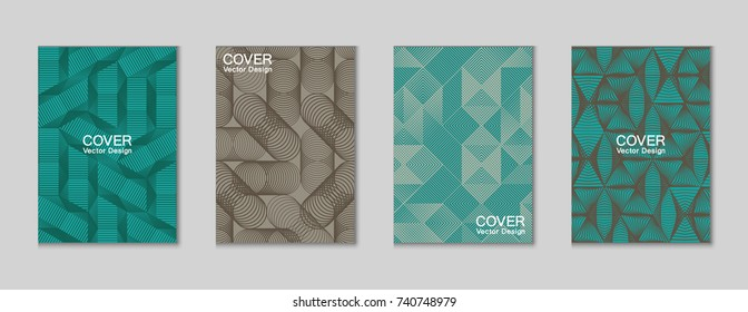 Halftone shapes minimal geometric cover templates set graphic design. Halftone lines grid vector background made of triangle, hexagon, rhombus and circle shapes. Future geometric cover backgrounds.