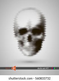 Halftone skull, line, Wave, circles, bubbles. Design element. Invitation, party. Billboard, flyer. Musical poster.