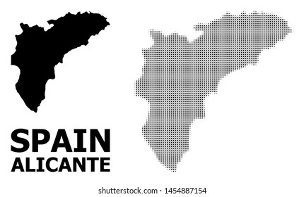 Halftone and solid map of Alicante Province composition illustration. Vector map of Alicante Province composition of x-cross elements on a white background.