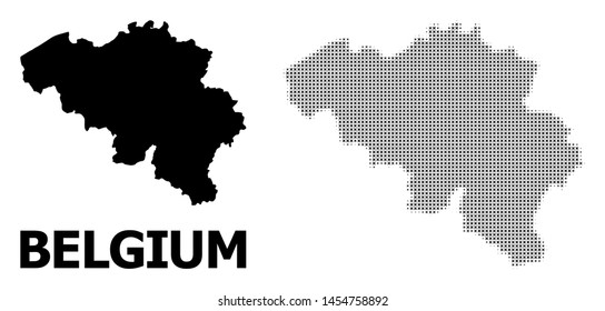 Halftone and solid map of Belgium composition illustration. Vector map of Belgium composition of x-cross spots on a white background. Abstract flat territory plan for political illustrations.