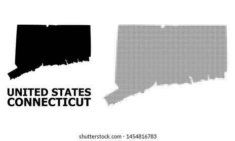 Halftone and solid map of Connecticut State composition illustration. Vector map of Connecticut State combination of x-cross spots on a white background.