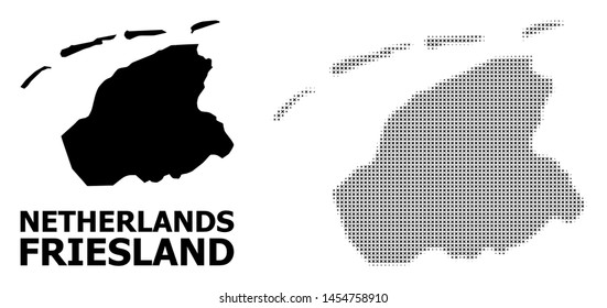 Halftone and solid map of Friesland Province composition illustration. Vector map of Friesland Province composition of x-cross elements on a white background.