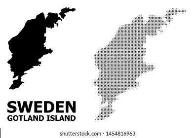 Halftone and solid map of Gotland Island composition illustration. Vector map of Gotland Island composition of x-cross elements on a white background.