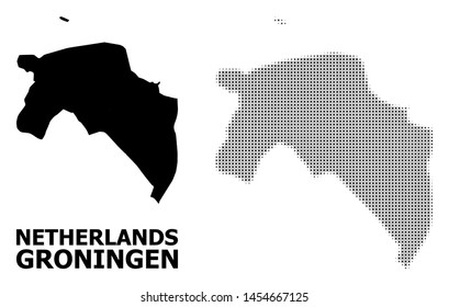 Halftone and solid map of Groningen Province composition illustration. Vector map of Groningen Province composition of x-cross spots on a white background.