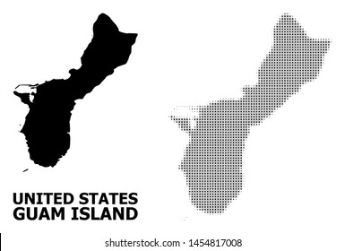 Halftone and solid map of Guam Island composition illustration. Vector map of Guam Island composition of x-cross elements on a white background. Abstract flat territory plan for education templates.