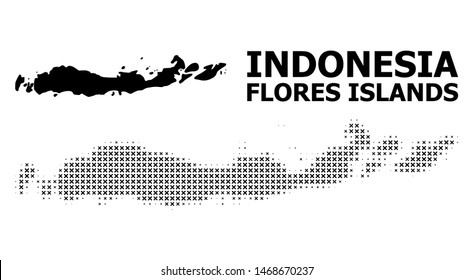 Halftone and solid map of Indonesia - Flores Islands composition illustration. Vector map of Indonesia - Flores Islands composition of x-cross spots on a white background.