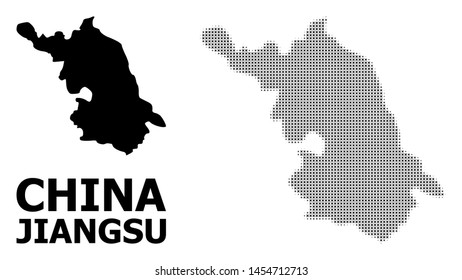 Halftone and solid Map of Jiangsu Province composition illustration. Vector Map of Jiangsu Province composition of x-cross elements on a white background.