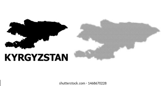 Halftone and solid map of Kyrgyzstan mosaic illustration. Vector map of Kyrgyzstan combination of x-cross spots on a white background. Abstract flat territorial scheme for political templates.