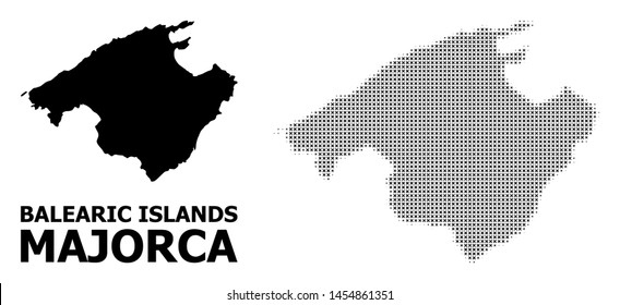 Halftone and solid map of Majorca composition illustration. Vector map of Majorca composition of x-cross items on a white background. Abstract flat geographic plan for educational illustrations.