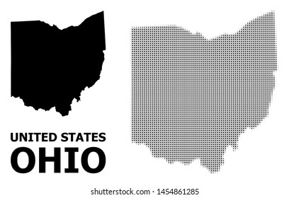 Halftone and solid map of Ohio State composition illustration. Vector map of Ohio State composition of x-cross elements on a white background.