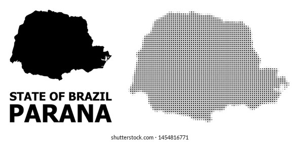 Halftone and solid map of Parana State composition illustration. Vector map of Parana State composition of x-cross items on a white background.
