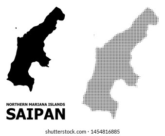 Halftone and solid map of Saipan Island composition illustration. Vector map of Saipan Island composition of x-cross spots on a white background.