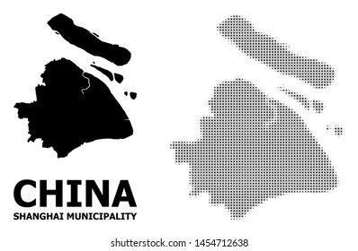 Halftone and solid map of Shanghai Municipality composition illustration. Vector map of Shanghai Municipality composition of x-cross spots on a white background.