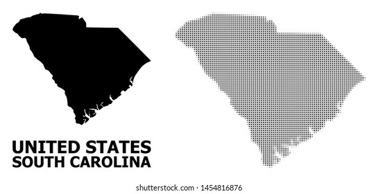 Halftone and solid map of South Carolina State composition illustration. Vector map of South Carolina State composition of x-cross items on a white background.