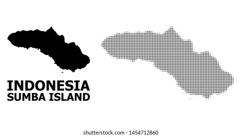 Halftone and solid map of Sumba Island composition illustration. Vector map of Sumba Island composition of x-cross elements on a white background. Abstract flat territory plan for political purposes.