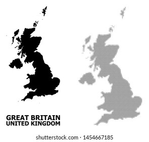 Halftone and solid map of United Kingdom composition illustration. Vector map of United Kingdom composition of x-cross spots on a white background.