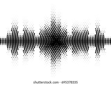Halftone sound wave black and white pattern. Tech music design elements isolated on white background. Perfect for web design, posters, musical banners, wallpapers, postcards.