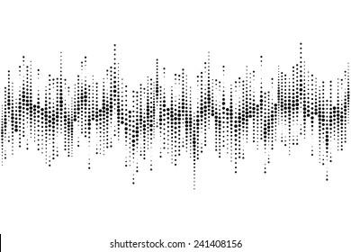 Halftone sound wave pattern modern music design element isolated on white background