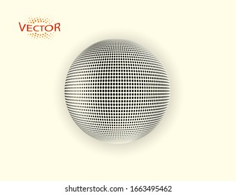 Halftone Sphere. Dot ball design element with shadow. Vector illustration on an isolated background.