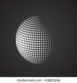 Halftone sphere. Isolated abstract earth logo white color on black background. Dotted globe vector illustration.