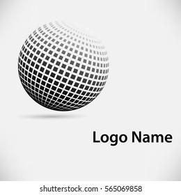 Halftone sphere vector logo template.