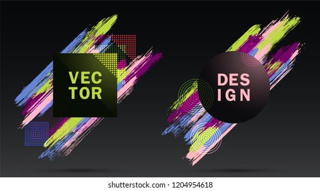 Halftone Square and Circle Frames with Paint Brush Strokes Vector Set. Party poster templates. Frames with colorful painted brushstrokes. Templates for fashionable banners, party adverts, posters.
