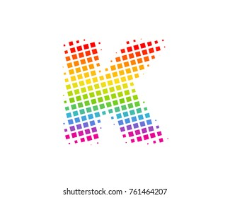 Halftone Square Letter K Icon Logo Design Element