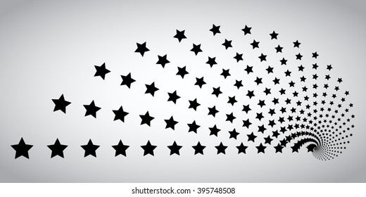 Halftone stars Collection . Stars in Spiral Form. Vector Logo Design Template. Business Icon.