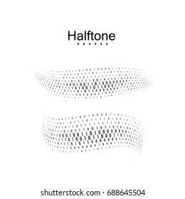 Halftone streaming binary code 3d shapes. Vector halftone wavy stream. Dynamic elements for design. Abstract illustration. Coding, cryptography or software development concept