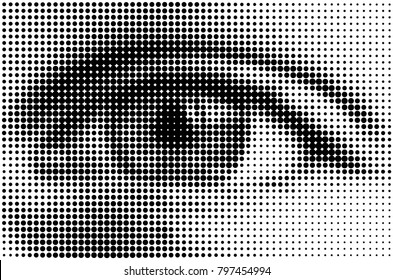 halftone style human eye close-up. dotted design. black dots on a white background