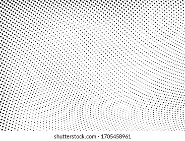 Halftone texture is black and white. Background of dots of chaotic waves. Abstract pop art template. Vector pattern for printing on posters, labels, fabric